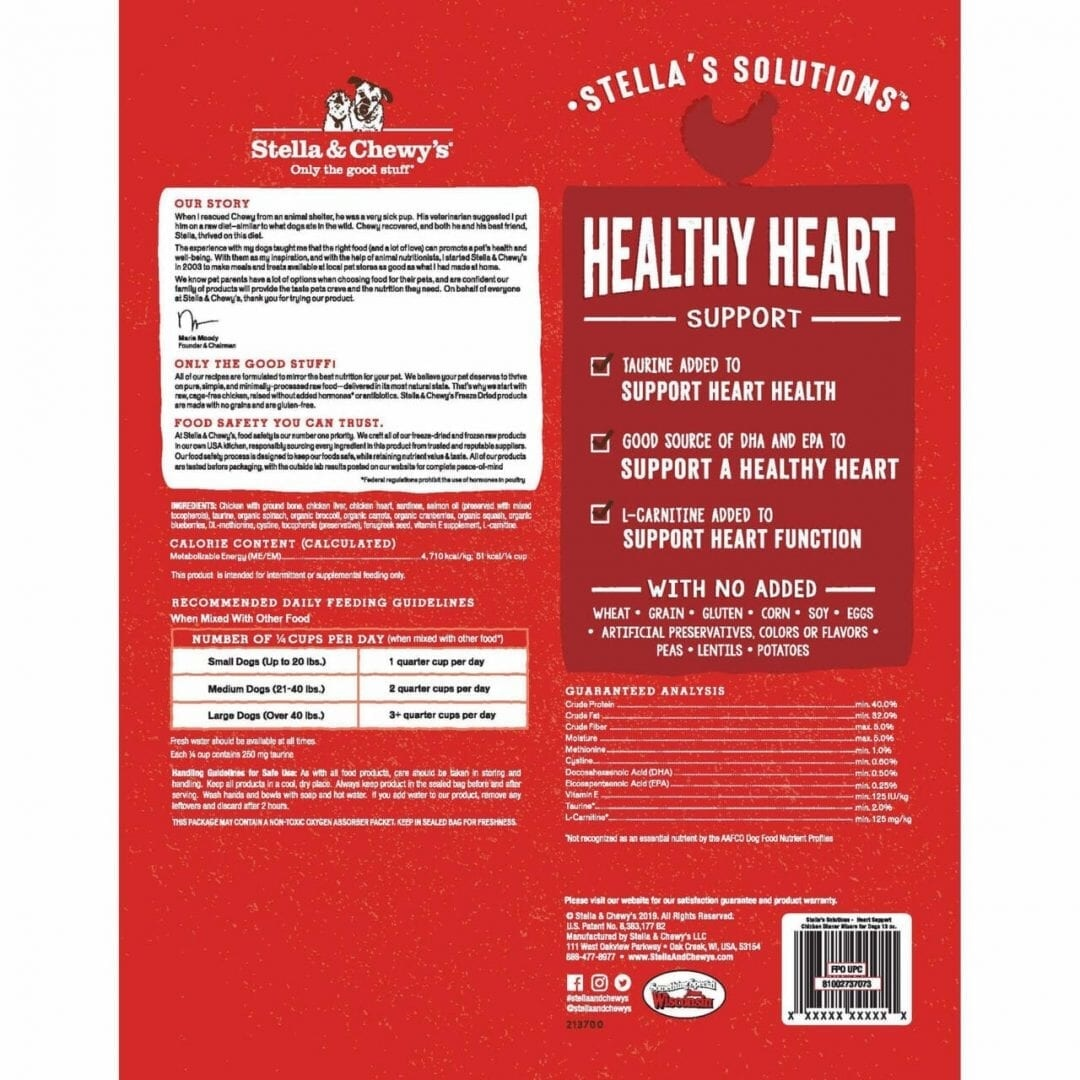 Stella & Chewy's Stella & Chewy's Stella Solutions Dinner Morsels Healthy Heart Support Chicken Freeze Dried Dog Food 13oz