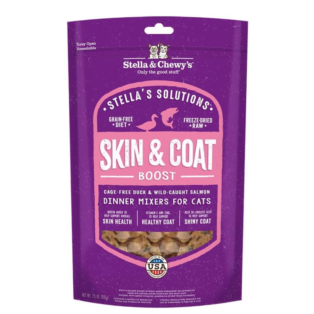 Stella & Chewy's Stella & Chewy's Stella Solutions Freeze Dried Dinner Mixers Skin & Coat Boost Duck & Salmon Cat Food 7.5oz