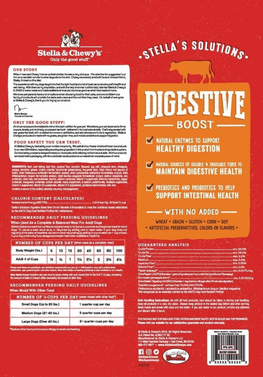 Stella & Chewy's Stella & Chewy's Stella Solutions Dinner Morsels Digestive Boost Beef Freeze Dried Dog Food 13oz