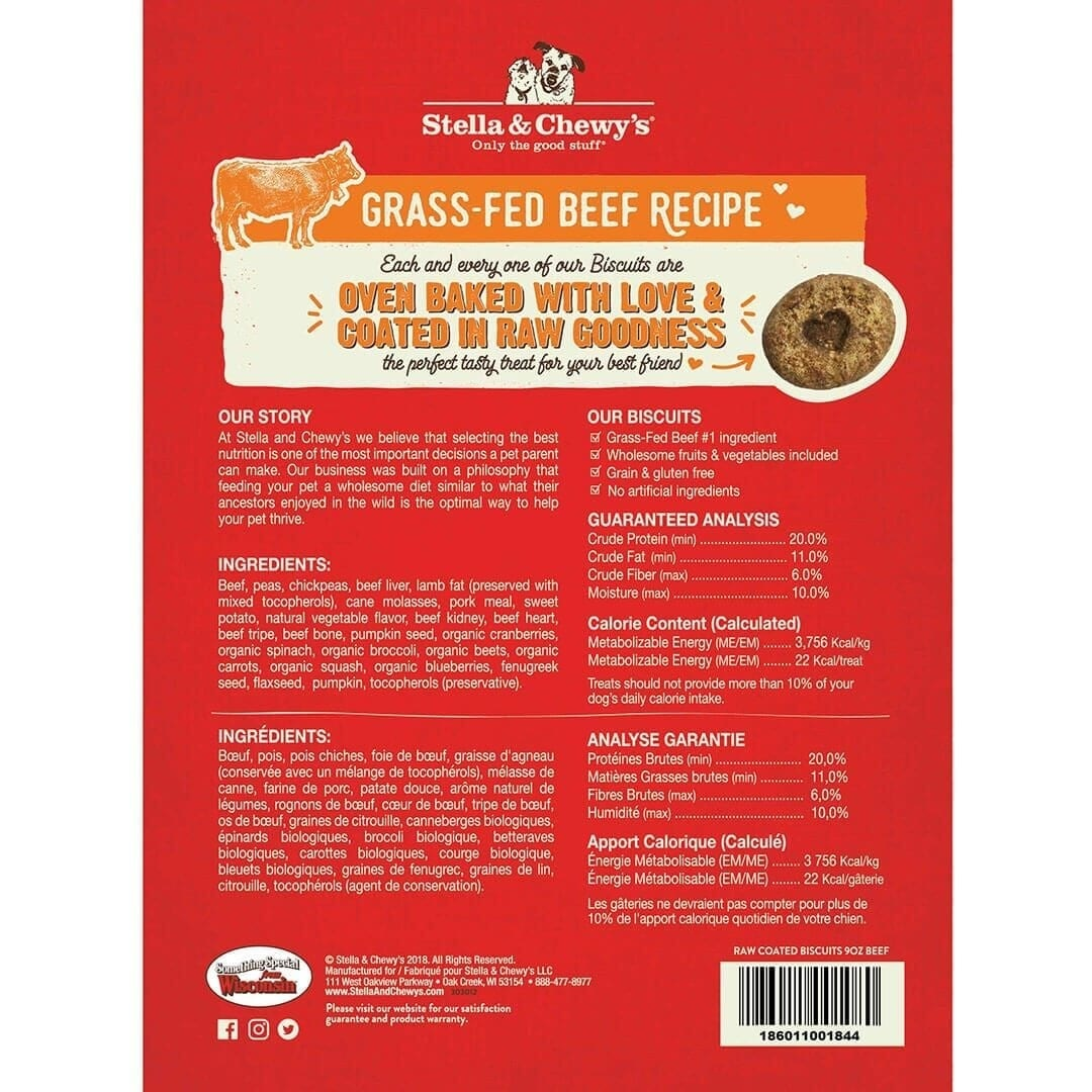 Stella & Chewy's Stella & Chewy's Raw Coated Biscuits Beef Dog Treats 9oz