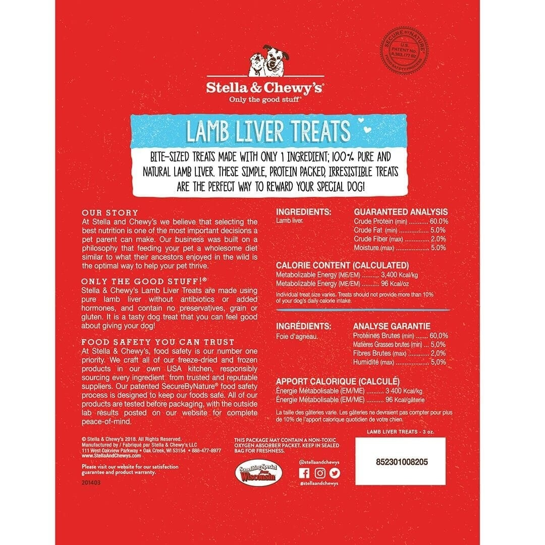 Stella & Chewy's Stella & Chewy's Lamb Liver Freeze Dried Dog Treat 3oz