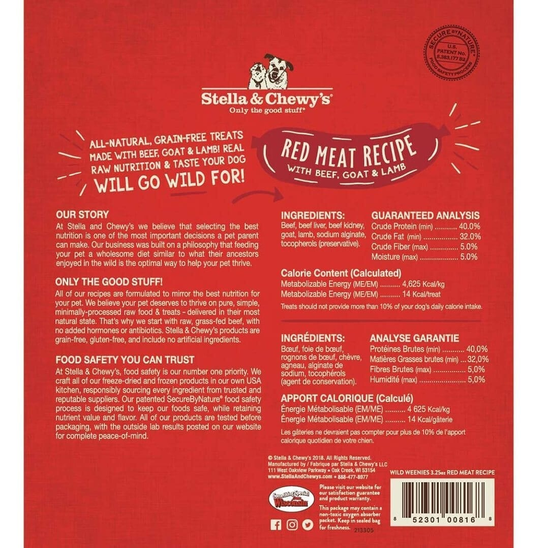 Stella & Chewy's Stella & Chewy's Wild Weenies Red Meat Freeze Dried Dog Treats 3.25oz