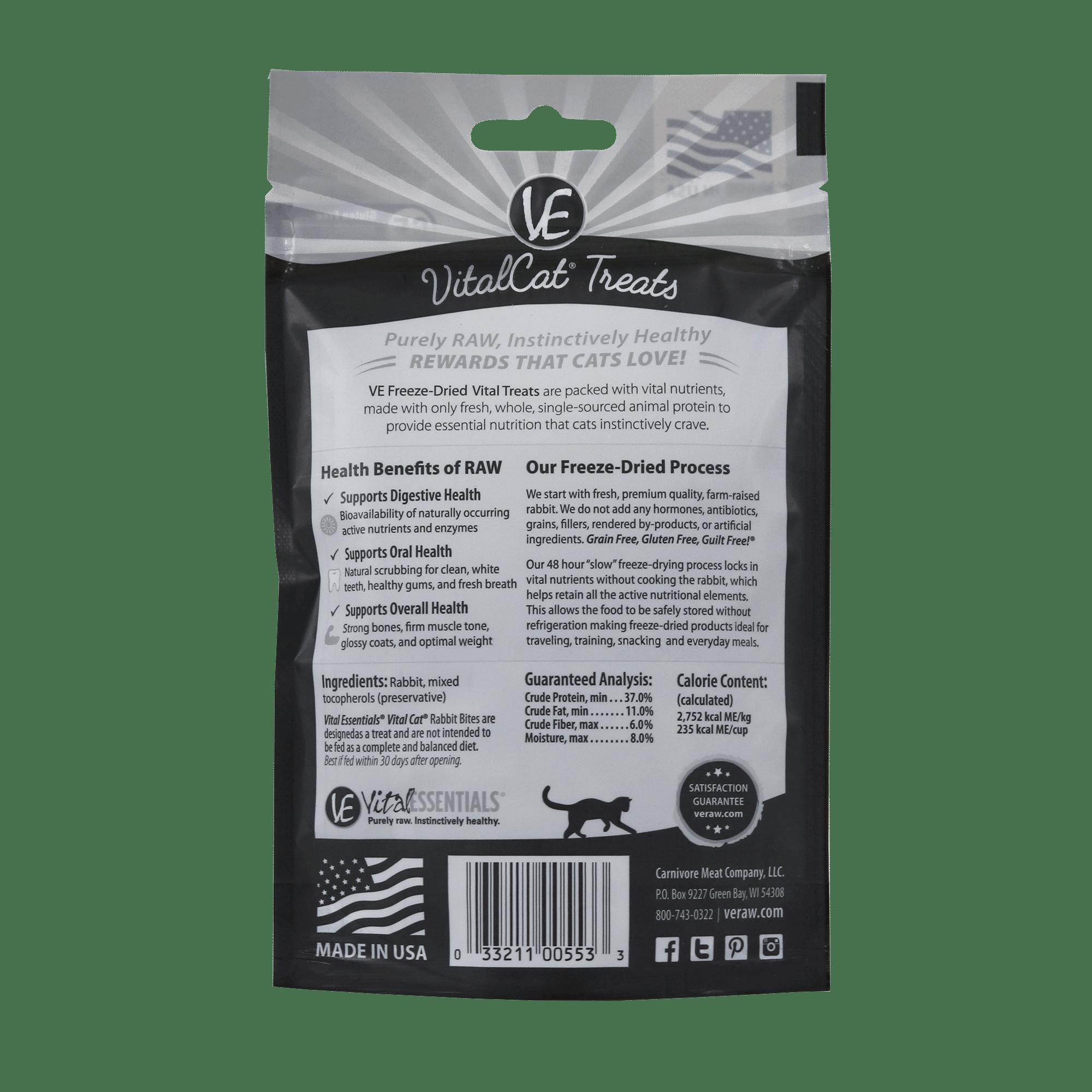 Vital Essentials Vital Essentials Freeze Dried Rabbit Bites Cat Treat 0.9oz