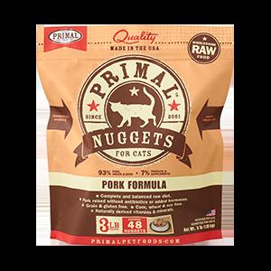 Primal Primal Pork Nuggets Raw Cat Food 3#
