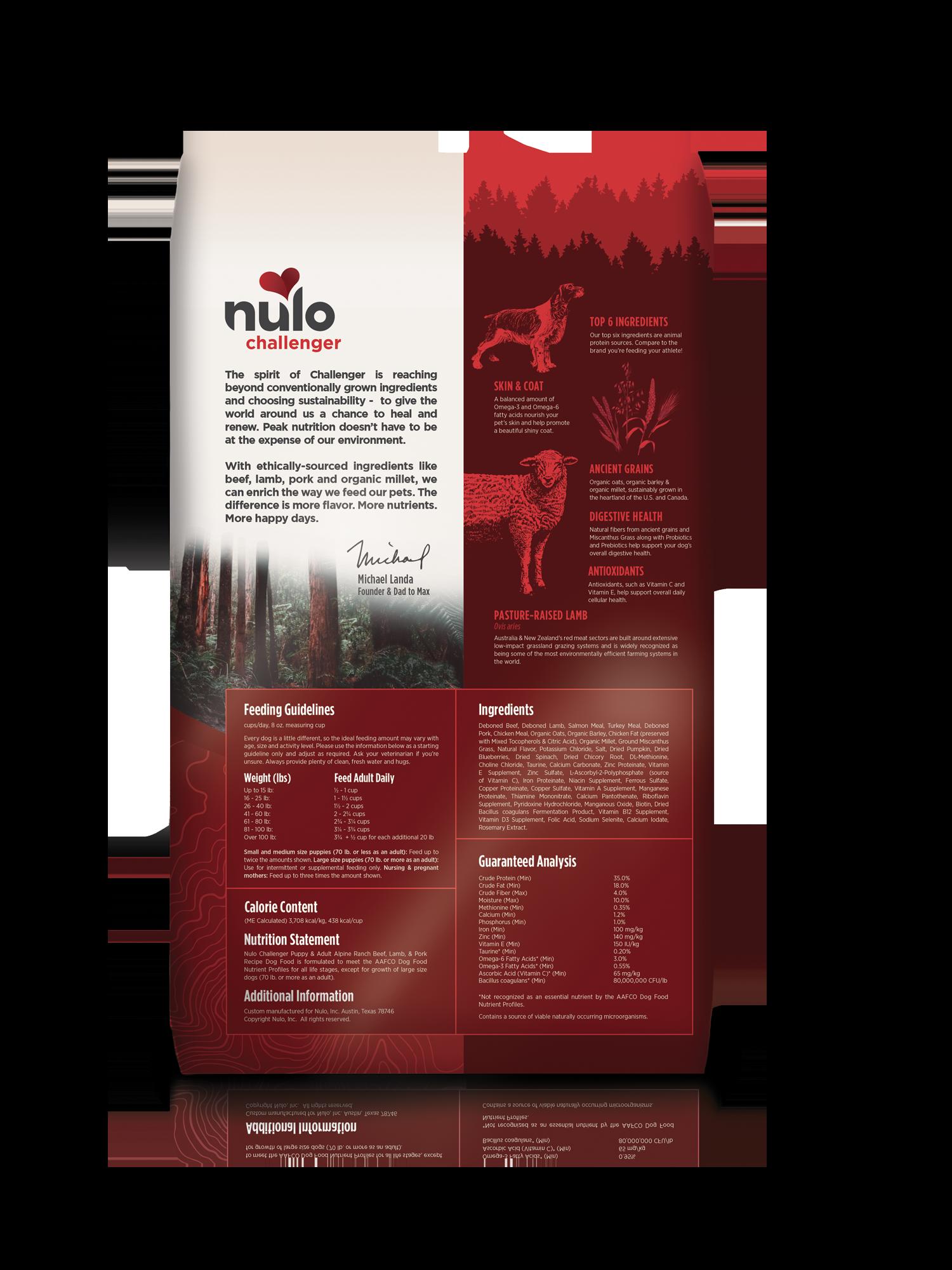 Nulo Nulo Challenger Alpine Ranch Beef, Lamb & Pork Dry Dog  Food