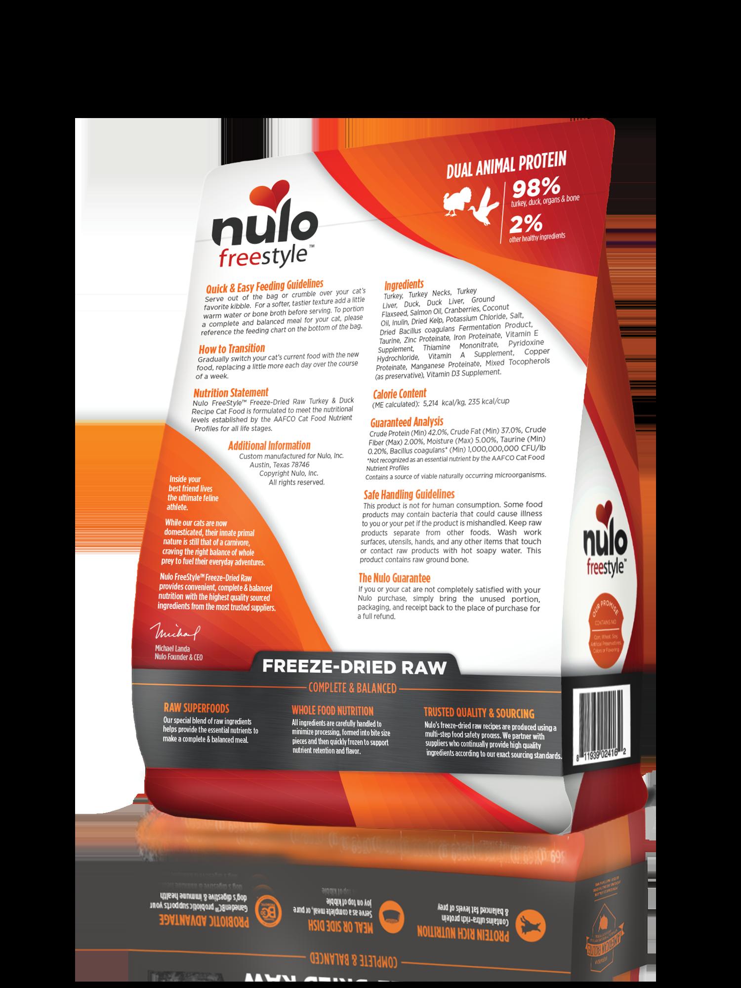 Nulo Nulo Freeze Dried Raw Turkey & Duck Cat Food