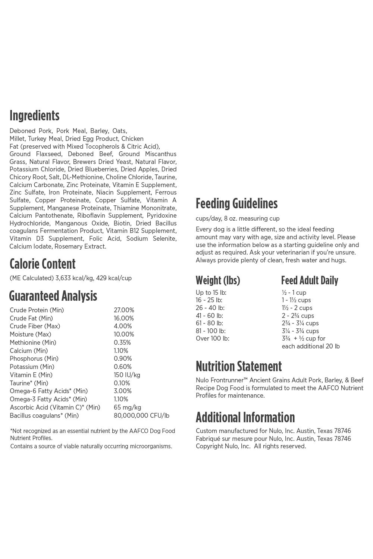 Nulo Nulo Frontrunner Adult Pork, Barley & Beef Dry Dog Food