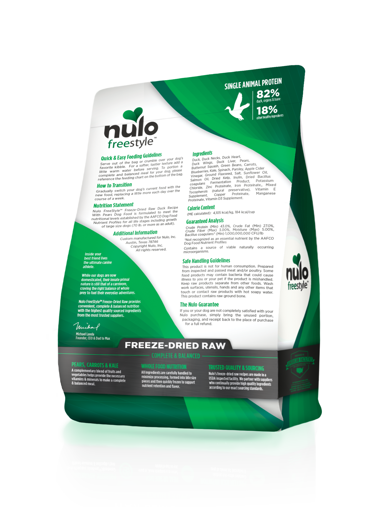 Nulo Nulo Freeze Dried Raw Duck with Pears Dog Food