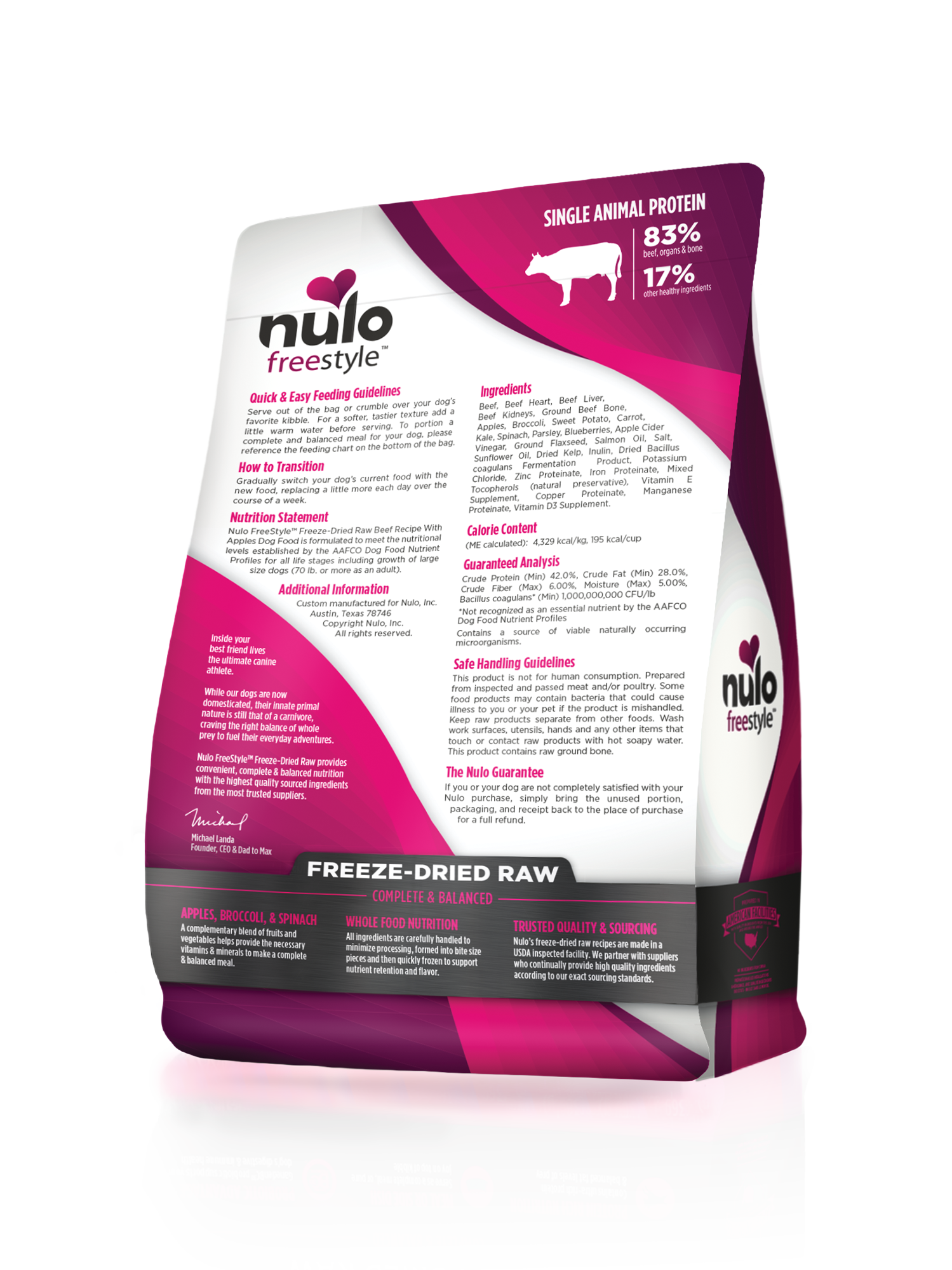 Nulo Nulo Freeze Dried Raw Beef with Apples Dog Food