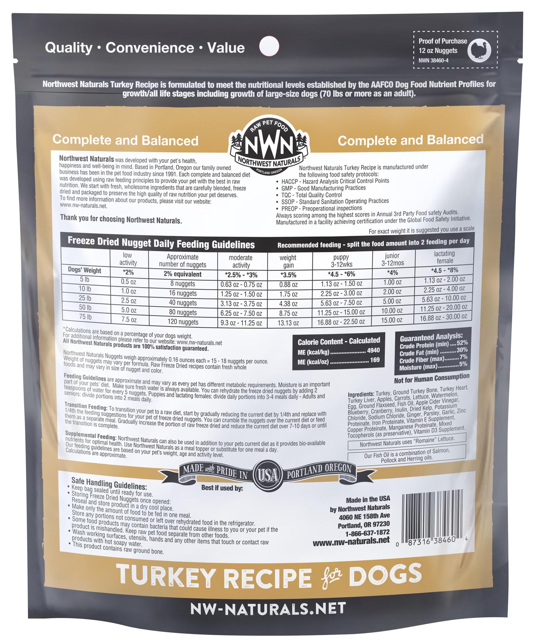 Northwest Naturals Northwest Naturals Freeze Dried Nuggets Turkey Dog Food 12oz