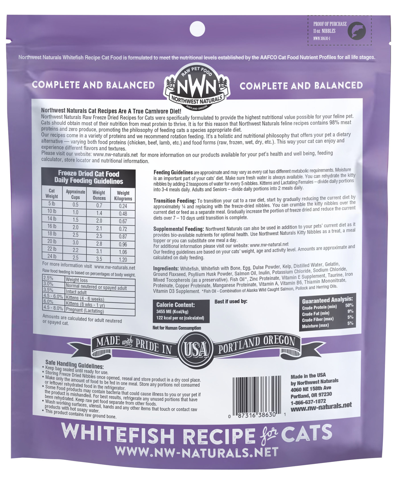 Northwest Naturals Northwest Naturals Nibbles Whitefish Freeze Dried Cat Food