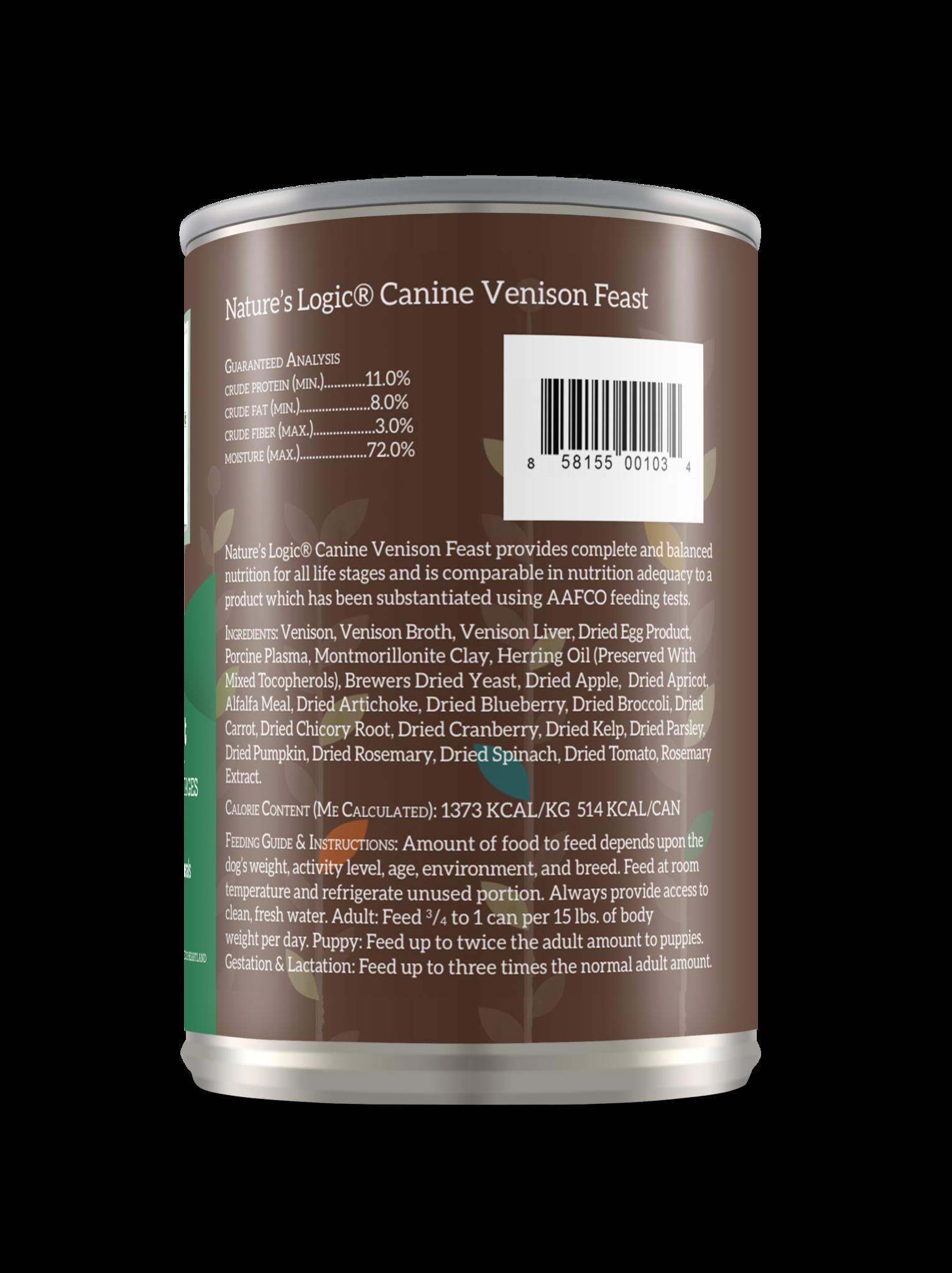 Nature's Logic Nature's Logic Venison Wet Dog Food 13.2oz