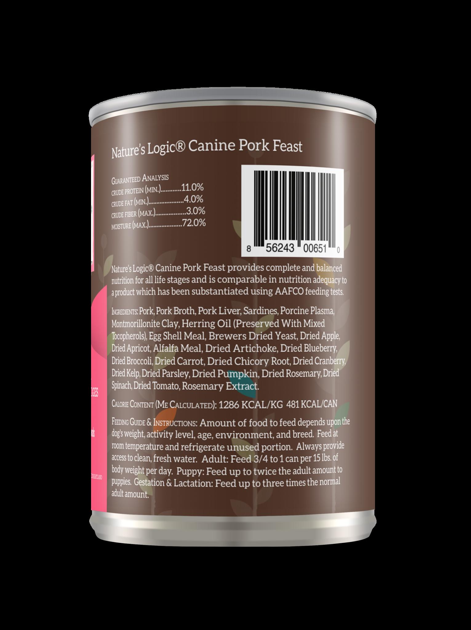 Nature's Logic Nature's Logic Pork Wet Dog Food 13.2oz