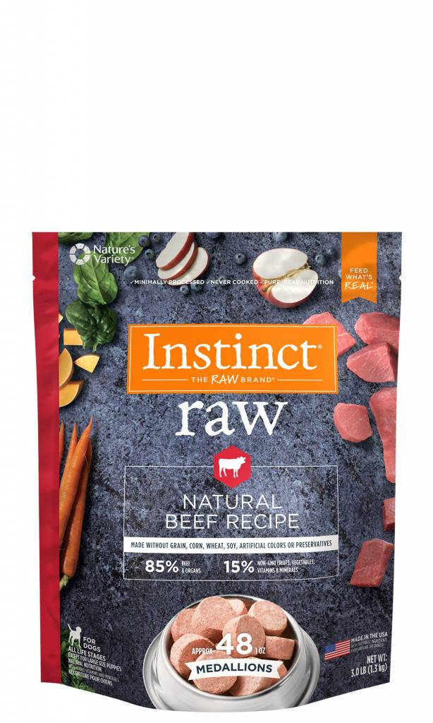 Nature's Variety Nature's Variety Instinct Raw Accessible Medallions Natural Beef Raw Dog Food 3#
