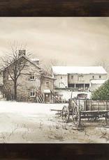 "Summer Snow Art Bringing Home the Tree Framed Print by John Rossini 13.5"" x 16.5"" Espresso"