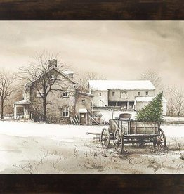 "Summer Snow Art Bringing Home the Tree Framed Print by John Rossini 13.5"" x 16.5"" Espresso"
