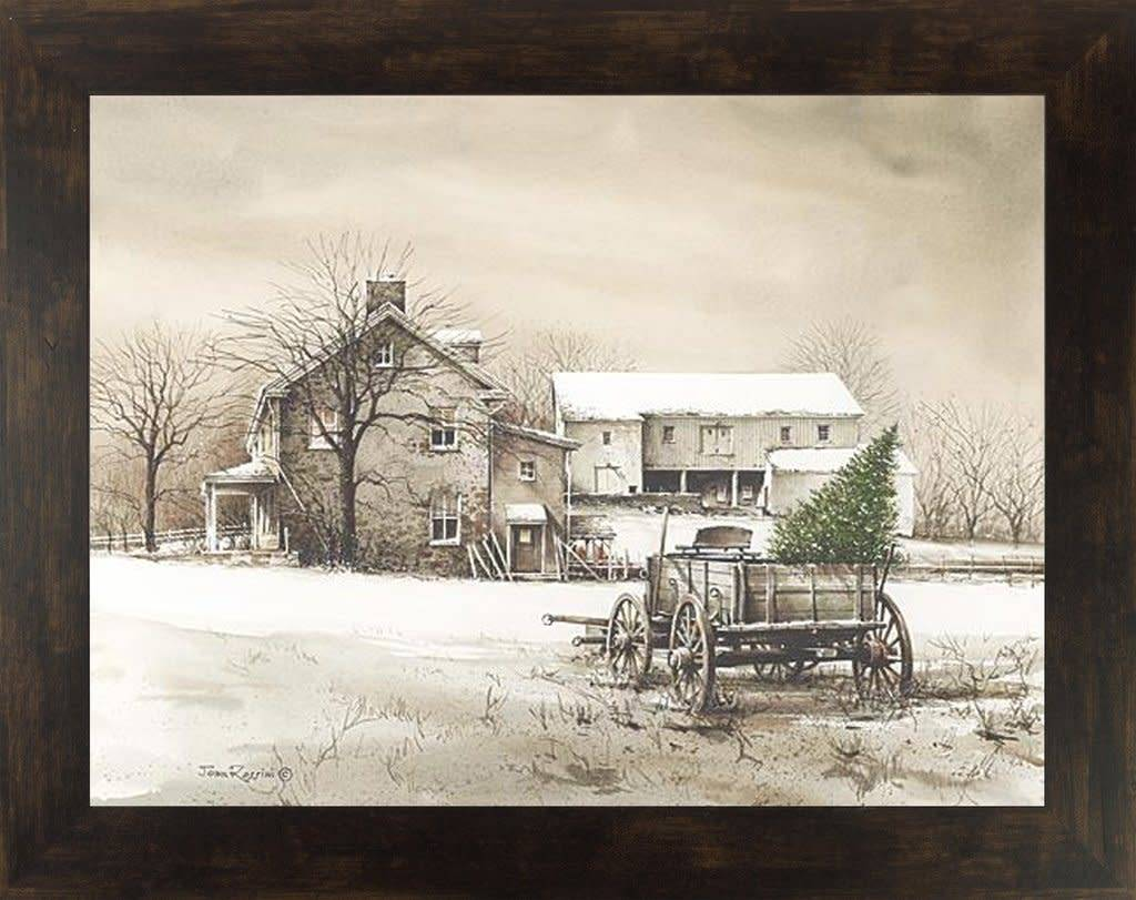 Summer Snow Art Framed Bringing Home the Tree by John Rossini, 13x16 Espresso