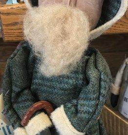 Homemade Primitive Wool Santa