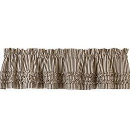The Country House Collection Black Ticking Ruffled Valance