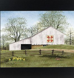 "Summer Snow Art Tulip Quilt Block Barn Framed Print by Billy Jacobs 16.5"" x 20.5"""