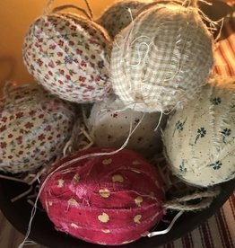 Ornament,Fabric wrapped Egg, set of 6
