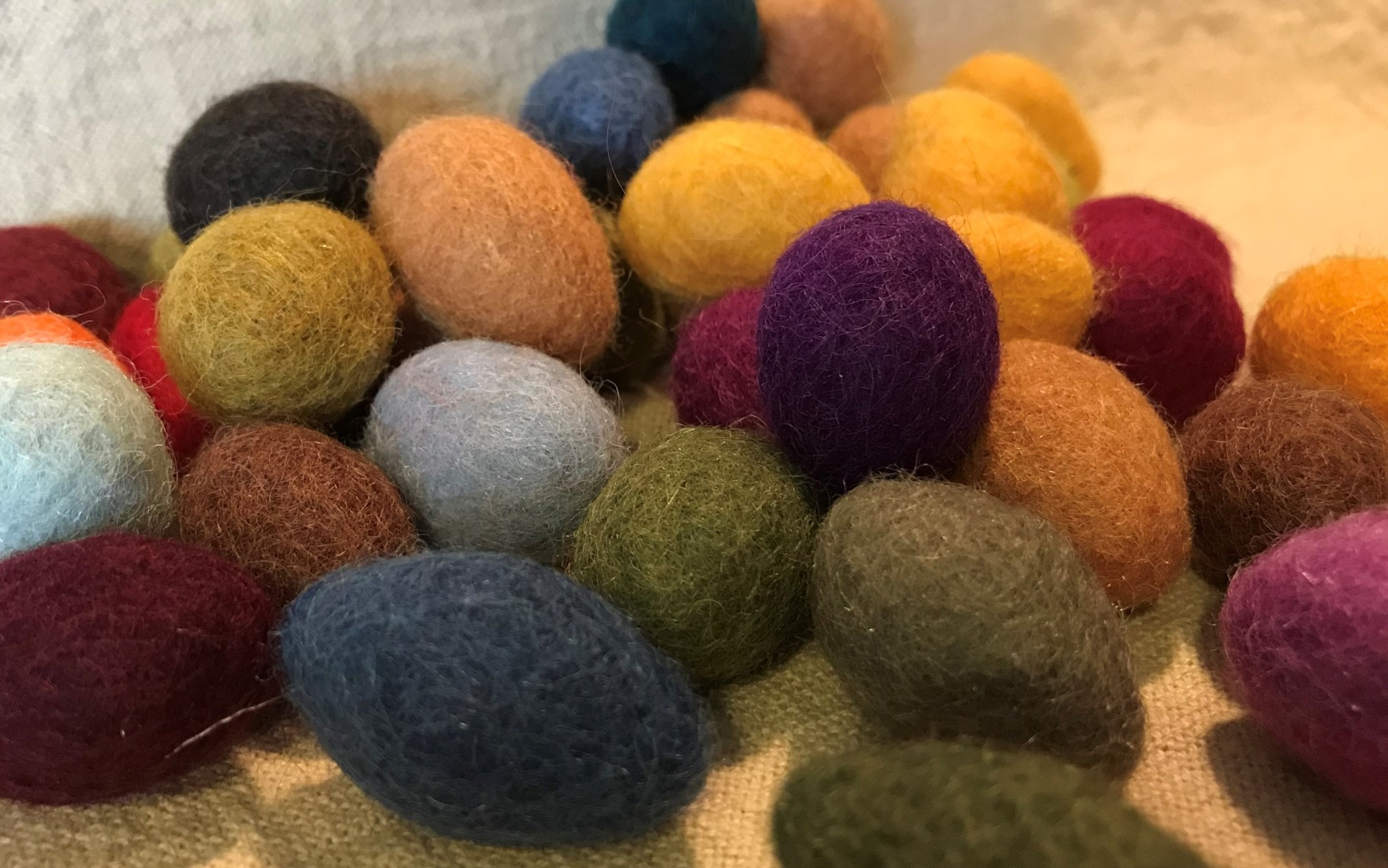 "Homemade 100% Wool Felted Eggs, Set of 10 small eggs with ""grass"""
