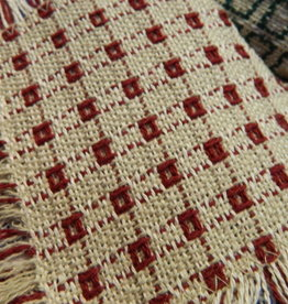 "Mountain Weavers Woven Runner, Stone & Cranberry 18"" x 36"" 100% cotton"