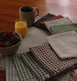 """Mountain Weavers 14"""" Napkin, Stone & Cranberry  100% Cotton"""