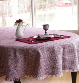 "Mountain Weavers Round Tablecloth, 60"" Stone & Cranberry 100% Cotton"