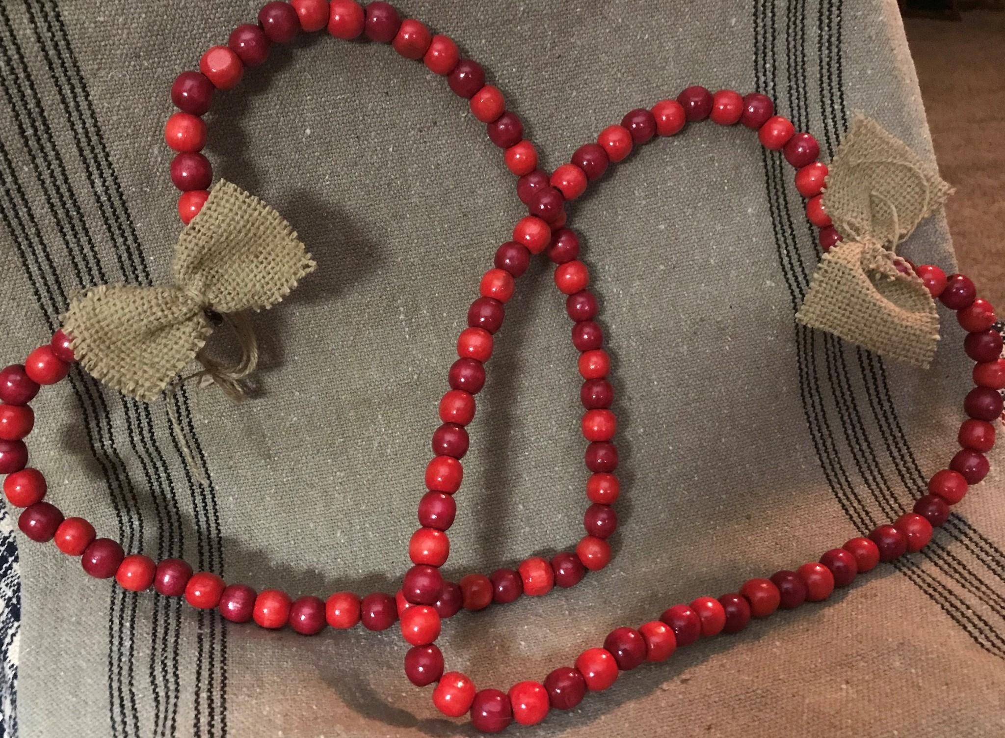 Homemade Red Wooden Bead Heart