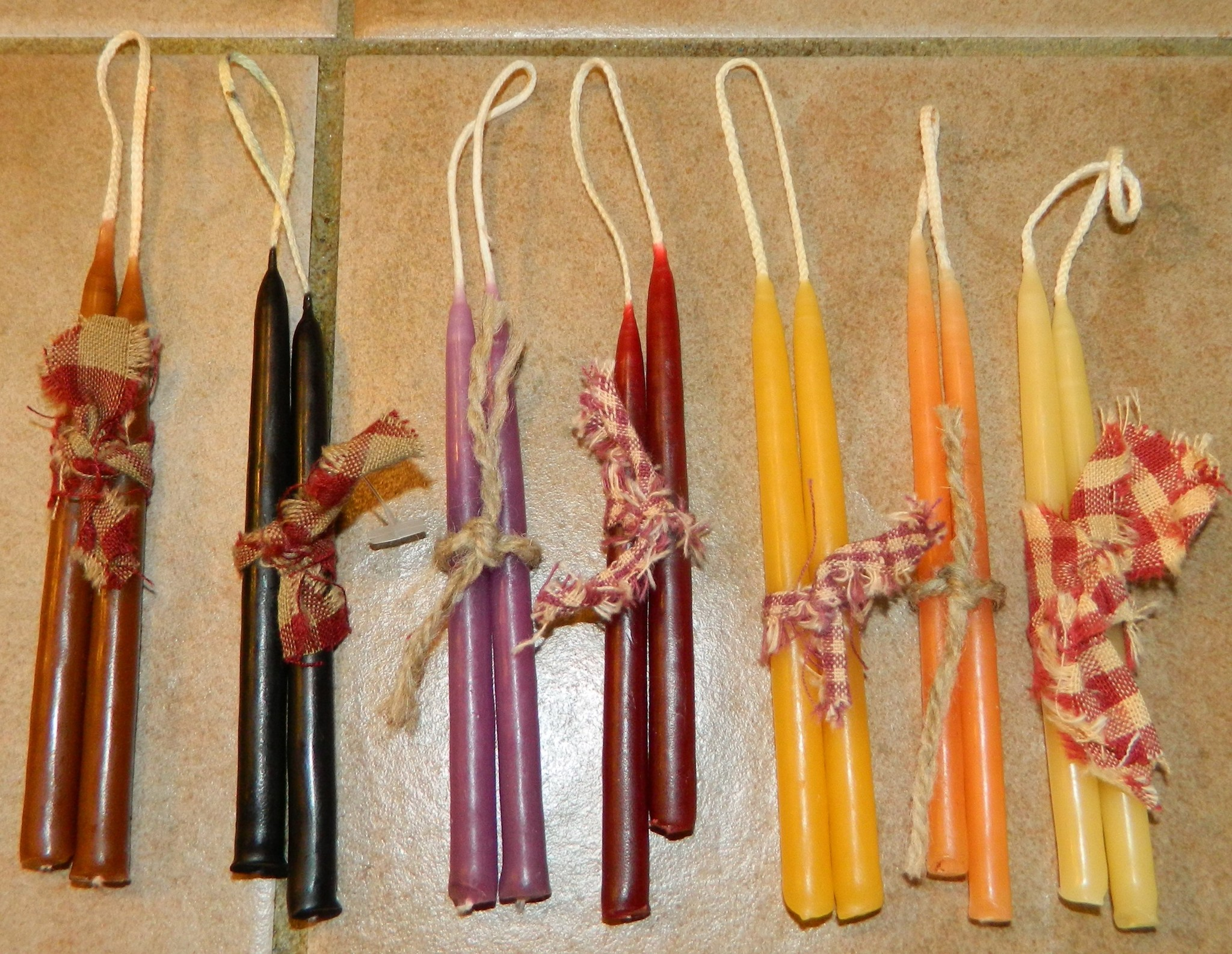 """The Old Candle Barn, Inc. Hanging Tapers Dark Red 4"""" Slim"""