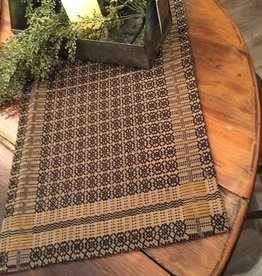 "Pine Creek Traditions Richburg Weave Short Runner, 14"" x 32"" Tan/Black/Wheat"