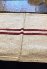 "Pine Creek Traditions Grain Sack Towel, Cream/Red  Approx 16"" x 23.5"""