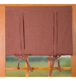 Raghu Exim Newbury Gingham Roll Tie Valance Barn Red/Oat