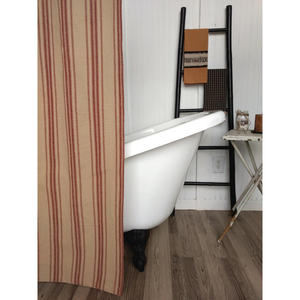 "Raghu Exim Grain Sack Stripe Oat/Barn Red Shower Curtain, 72""x72""  100% Cotton"