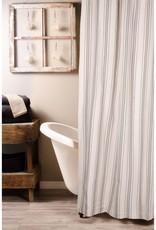 """Raghu Exim Grain Sack Stripe Pewter/Cream Shower Curtain, 72""""x72""""  100% Cotton"""