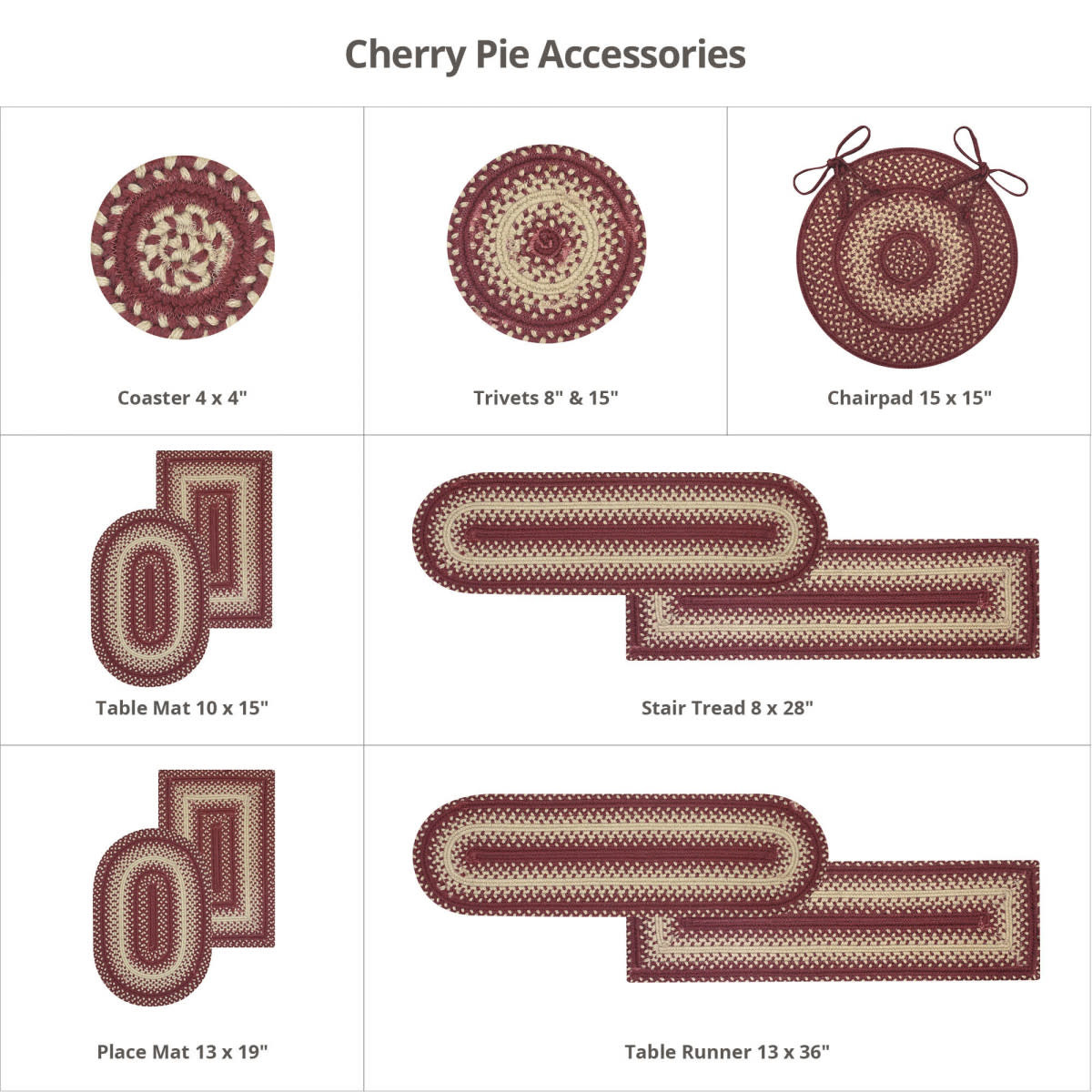"Homespice Decor Cherry Pie Ultra Wool Oval Placemat 13"" x 19"""