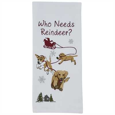 Park Designs Who Needs Reindeer Dishtowel