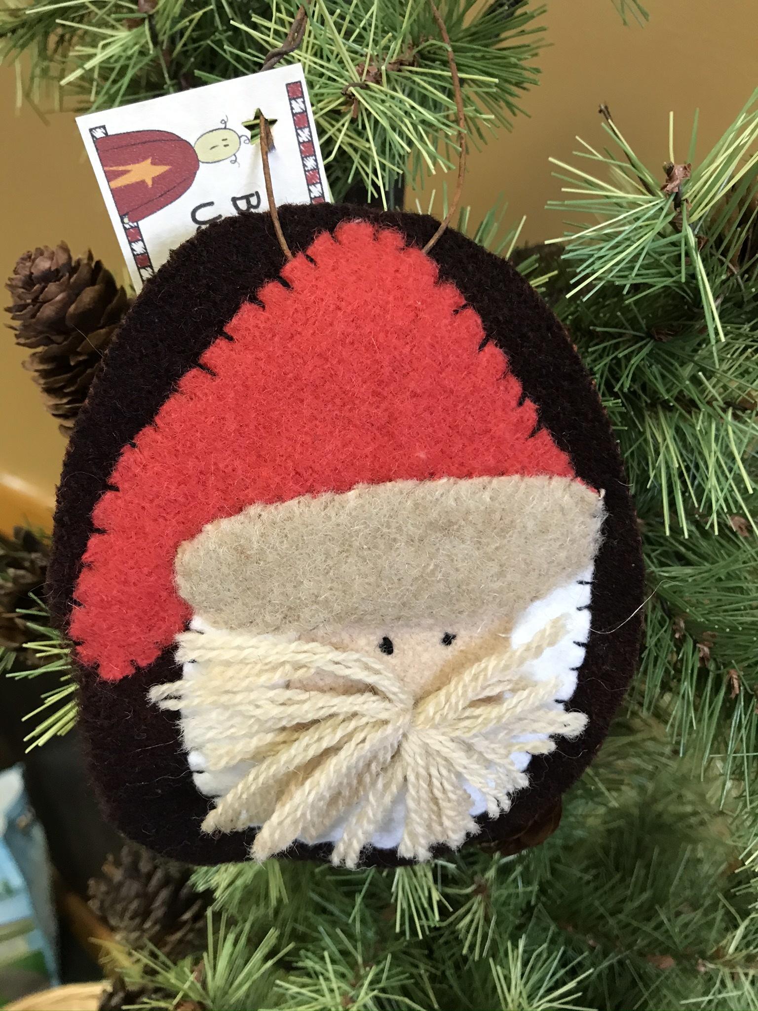 Homemade Wool Santa Hanging, Large