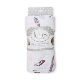Lulujo Putty Feathers Cotton Muslin Swaddle