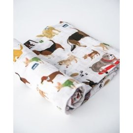 Little Unicorn Woof Cotton Muslin Swaddle