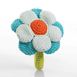 Pebble Blue Flower Rattle