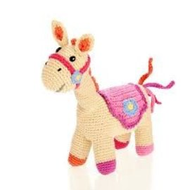 Pebble Pebble Pink Horse Rattle