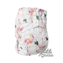 La Petite Ourse One-Size Snap Diaper, Flamingo