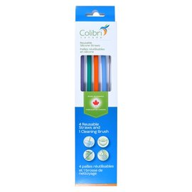 Colibri Silicone Straw 4 pack with Cleaning Brush