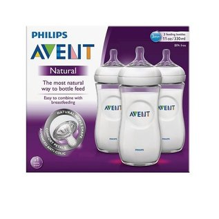 Avent NATURAL 8oz GLASS bottle, 3pk