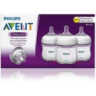 Avent NATURAL 4oz GLASS bottle, 3pk