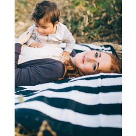 Little Unicorn Black & White Stripe Outdoor Blanket
