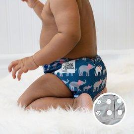 La Petite Ourse One-Size Snap Pocket Diaper, Elephant Parade