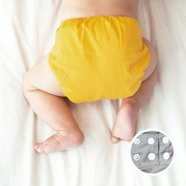 La Petite Ourse One-Size Snap Diaper, Egg Yolk
